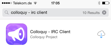 Install the Colloquy app from the Appstore