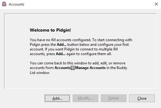Pidgin welcome screen