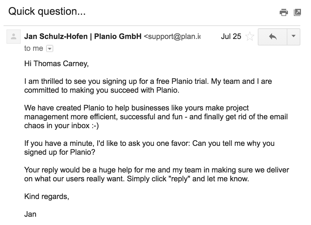 The email asking Planio users why they signed up