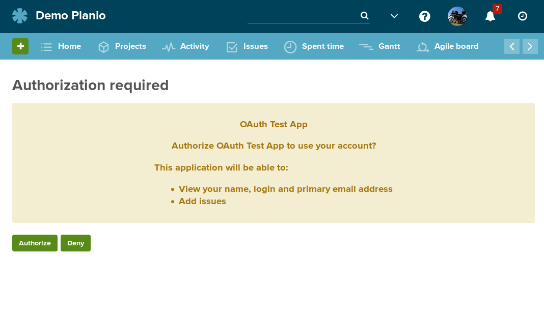 Authorizing an OAuth 2 Application
